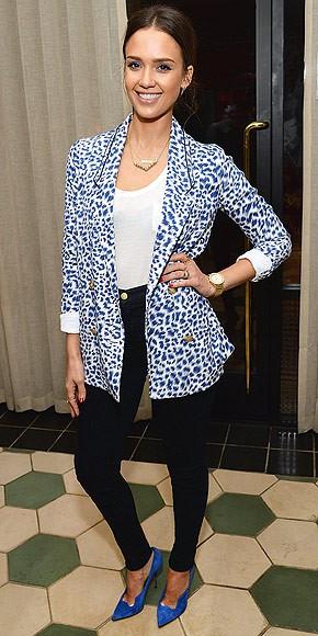 Blue and White Leopard Print Blazer, Semi-Sheer White Top, Black Skinny Jeans, Blue Heels