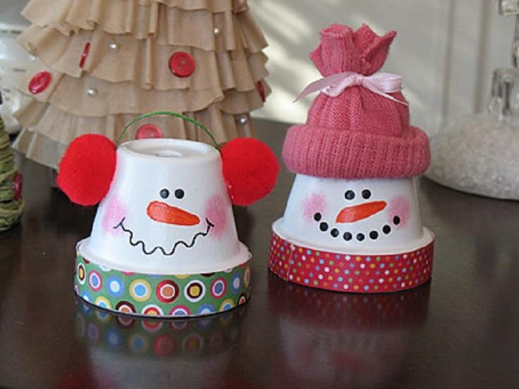 Terracotta Pots Snowman