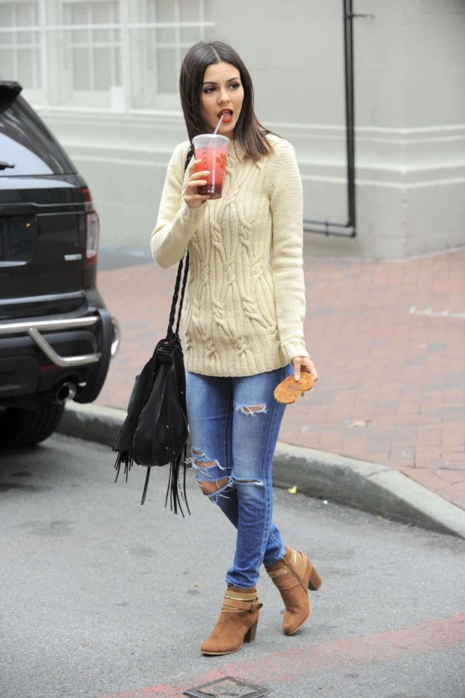 Beige sweater and ankle boots
