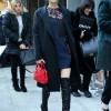 Long coat and over-the-knee boots Victoria Justice